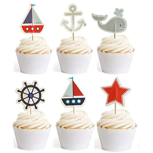 Nautical Cupcake Toppers Whale Cake Decorations For Baby Shower Wedding Birthday Party 24 Counts By (Sailboat Baby Shower)