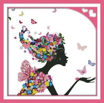 Joy Sunday Cross Stitch kits, Flower woman,11CT Stamped, 91c