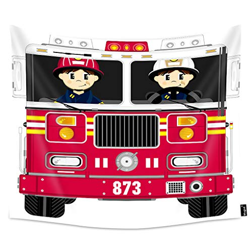 Mugod Fireman and Fire Engine Tapestry Wall Hanging Cartoon Firefighter Badge Helmet Fire Truck Red Decorative Tapestry Home Art Polyester for Men/Women/Kids Bedroom 90x60 Inch