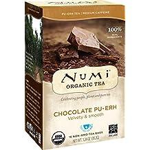 Numi Organic Tea Chocolate Pu-erh, 16 Bags, Black Pu-erh Tea in Non-GMO Biodegradable Bags, Premium Individually Bagged Tea, Organic Fermented Pu-erh Tea, Aged Pu-erh Tea