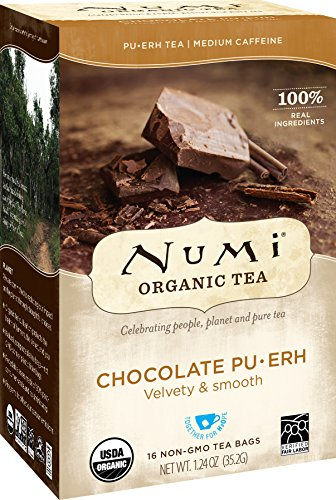 Numi Organic Tea Chocolate Pu-erh, 16 Count Box of Tea Bags, Black Tea Chocolate Whole Bean Tea