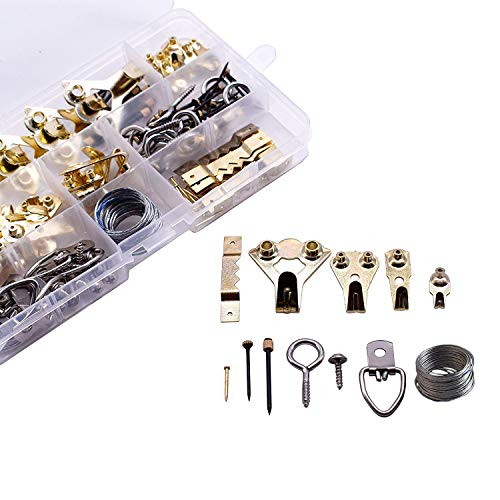 Professional Picture Hangers - 141 Piece Assortment Heavy Duty Picture Hanging Kit with Wire,Screw Eyes,Hooks,Nails and Hardware for Frames - Holds 5-100 lbs