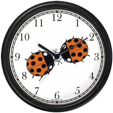 Two Lady Bugs Kissing Lady Bug or Lady Bird – Ladybug – JP Animal Wall Clock by WatchBuddy Timepieces Black Frame