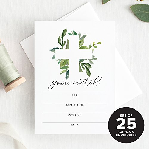 Baptism Boys Invitation (Baptism Invitations with Envelopes 25 Pack, for First Communion, Christening, Baby Dedication, Religious Celebration Or Reconciliation. for Girls & Boys — Fill in Invites from Bliss Paper Boutique)