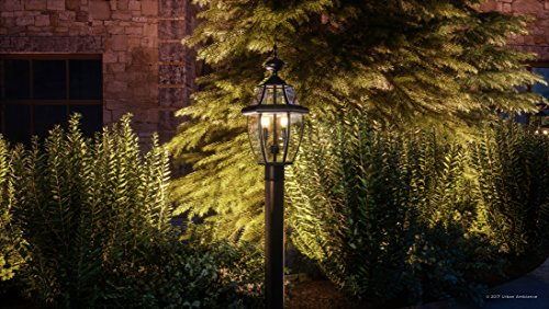 Luxury Colonial Outdoor Post Light, Large Size: 21''H x 11''W, with Tudor Style Elements, Versatile Design, High-End Black Silk Finish and Beveled Glass, UQL1148 by Urban Ambiance by Urban Ambiance (Image #1)