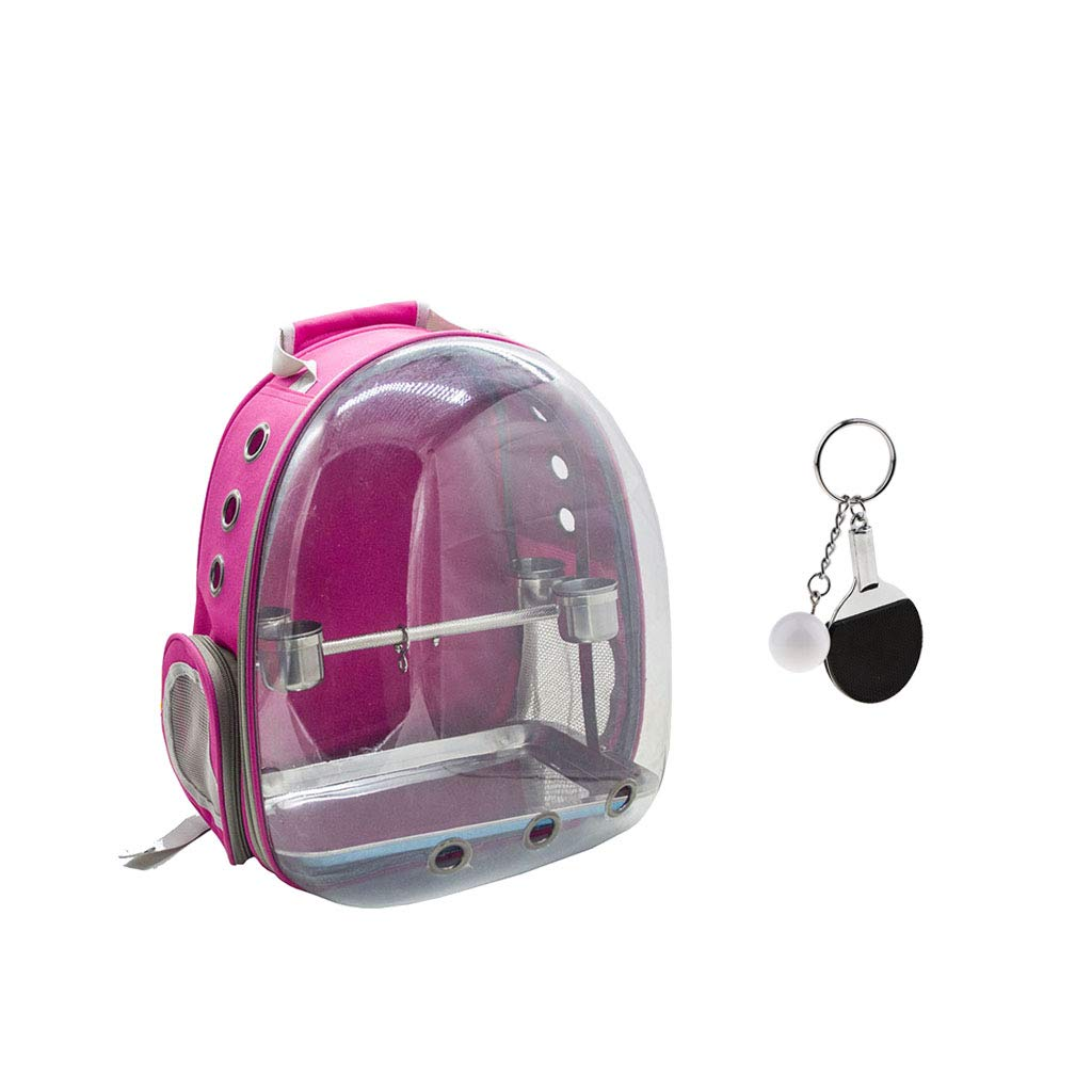 Perfk Bird Outdoor Travel Backpack Carrier pink Red Front Cover Clear Travel Cage Bag & Keychain
