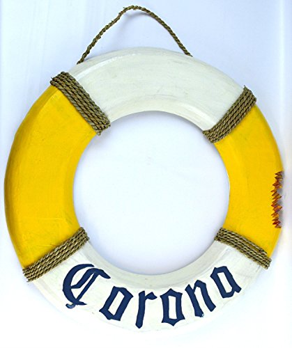 Hand Carved Blue Letters Corona Beer Life Ring Buoy LifeSaver Wooden Wall Hanging Art Sign Tiki Bar by WorldBazzar