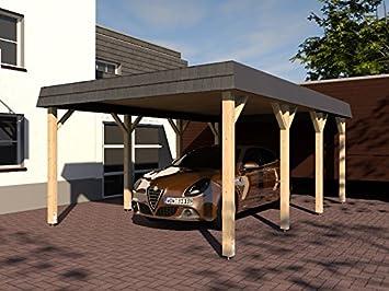 CarPort tejado Assen VII 400 x 600 cm estructura de madera maciza Kvh abeto nuevo