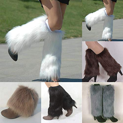 Lightclub Winter Fashion Women Boot CoversFurry Solid Color Faux Fur Soft Leg Warmers - White 30cm -
