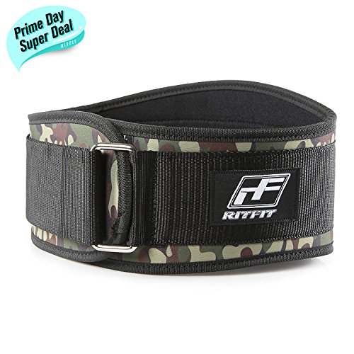 RitFit Weight Lifting Belt - Great for Squats, Crossfit, Lunges, Deadlift, Thrusters - Men and Women - 6 Inch Black (Camouflage, XL(44-51''))