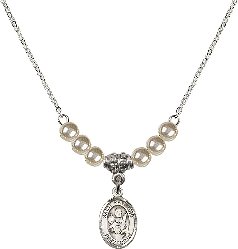 18-Inch Rhodium Plated Necklace with 4mm Faux-Pearl Beads and Sterling Silver Saint Raymond Nonnatus Charm.