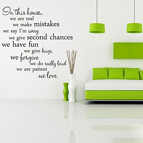 CUGBO In This House Wall Decal Quote Removable Vinyl Wall Ar