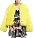 GESELLIE Women's Yellow Winter Thick Outerwear Warm Short Faux Fox Fur Jacket Coat 4XL