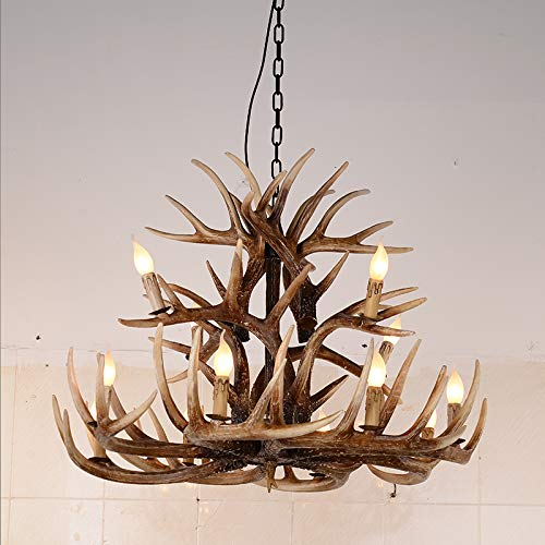 12 Lights Handmade Antique Led Antler Chandelier Lights Deer Elk Antler Pendant Ceiling Fixtures Resin - Antler Lamps Elk