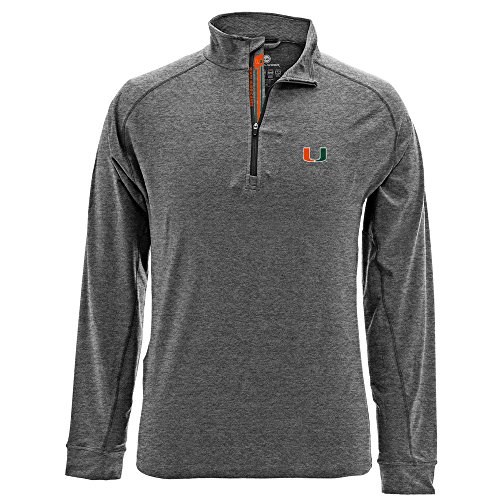 Levelwear LEY9R NCAA Miami Hurricanes Adult Men Peak Banner Stripe Quarter Zip Mid-Layer, Large, Heather Charcoal ()