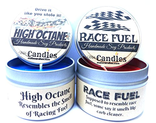 Combo Set - 4oz High Octane & 4oz Race Fuel Soy Candle Tins - Great Gift for Men & Race Fans ()