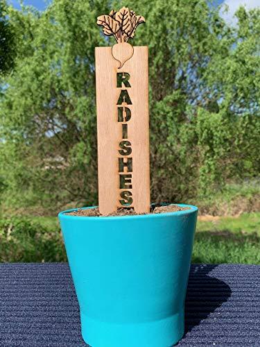 (Radishes, Garden Stakes, Vegetable Markers, Plant Stakes, Decorative Garden Markers, Veggie Sticks, Herb Sticks )