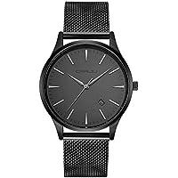 CRRJU Men's Fashion Minimalist Wrist Watch with Milanese Mesh Band,Waterproof Analog Deep Gray Date with Black Quartz Dress Wrist Watch