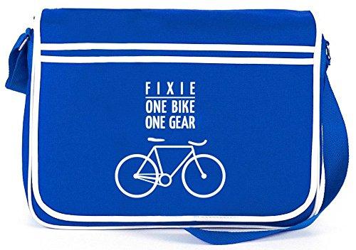 Shirtstreet24, Fixie - One Bike, Singlespeed Fahrrad Retro Messenger Bag Kuriertasche Umhängetasche , Größe: onesize,Royal Blau