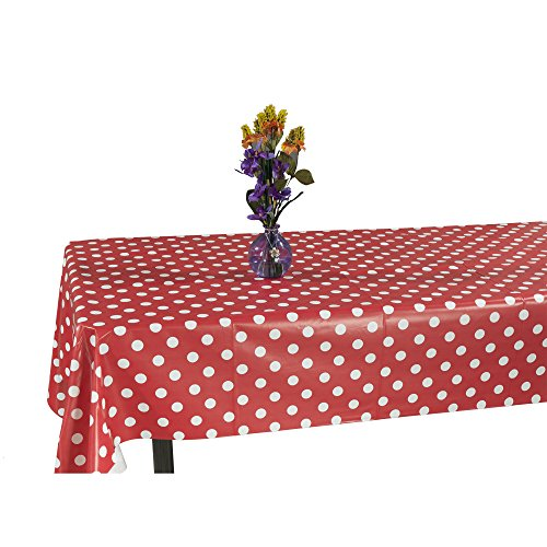 "Ottomanson Vinyl Red Polka Dot Design 55"" X 86"" Indoor & Outdoor Non-Woven Backing Tablecloth"