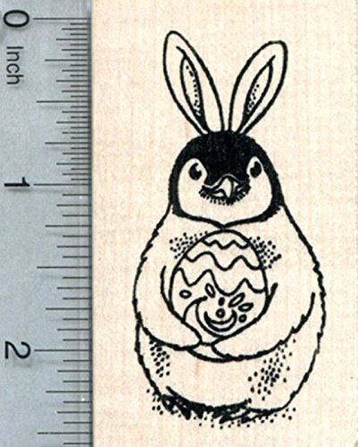 (Easter Penguin Rubber Stamp, with Decorated Egg and Rabbit)