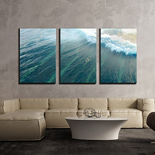 Man on Surfboard in Blue Ocean with Wave x3 Panels