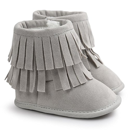 Voberry Baby Toddler Girls Boys Winter Warm Snow Boot Tassels Trimmed Boots Outdoor (12~18Month, light Gray) (Outdoor Tassels)