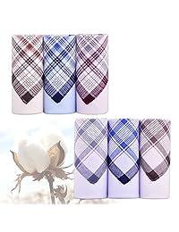 6pcs Cotton Handkerchiefs Hanky Pocket Square Classic Pattern Vintage ciciTree