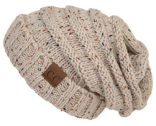 Cable Knit Long Scarf (H-6100-2067 Oversized Slouchy Beanie - Confetti Oatmeal (Dark))