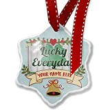 Add Your Own Custom Name, Lucky Everyday St. Patrick's Day Shamrock on Wood Christmas Ornament NEONBLOND