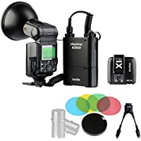 Godox AD-360II GN80 E-TTL Flash Speedlite + PB-960 Battery + X1T-C + softbox 2 in 1 cable Bulb Protector Honeycomb Grid Softbox For Canon (Black)