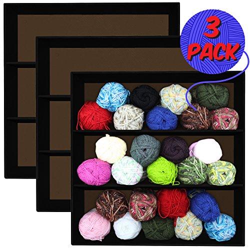 3 Pack, Stackable Knitting, Sewing, Crocheting, Yarn & Craft Organizer Shelves, Black Corrugated Cardboard by Display Geek, Inc.