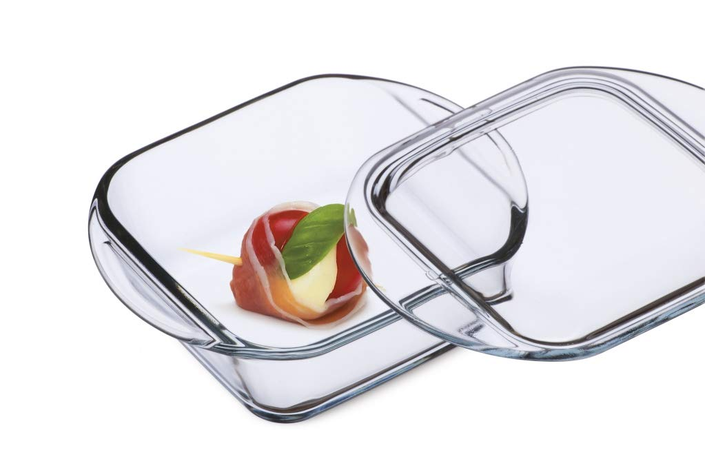 Simax Clear Square Shaped Mini Glass Casserole | With Lid - Heat, Cold and Shock Proof - Made in Europe - Oven, Freezer and Dishwasher Safe - Small 10 Ounce Personal Sized Glass Baking Dish by SIMAX