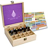 Essential Oil Box - 25 Slots. Best For Tall Roller Bottles. Natural Pine, ...