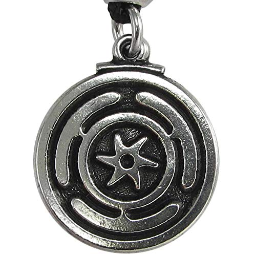 Pewter Wheel of Hecate Goddess Symbol Pendant Necklace