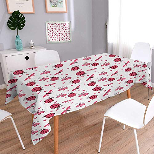 BarronTextile Ladybugs Oblong Wrinkle Resistant Tablecloth Domed Back Round Ladybugs with Hearts Flowers Dragonflies Romantic Wings Pattern Rectangular Tablecloth 60