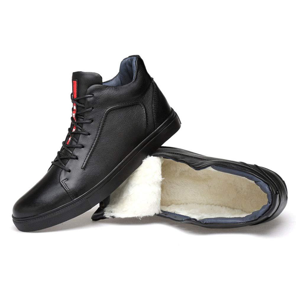 JHHXW Chaussures en Cuir Casual Mode Haut-Top Chaussures Rondes tête d'usure Anti-dérapant Grande Taille Mince Section Respirante/épaisse Section Chaude Chaussures pour Hommes