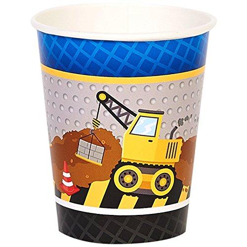 Construction Party Supplies 9 oz Paper Cups (8)
