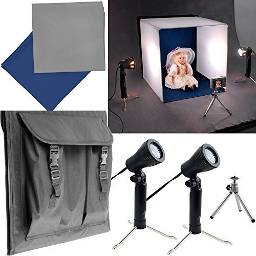 {Make Your Own Home Studio} Studio Photography Lighting Table Top Square Tent Kit Includes: 16'' Tent + 2 Tabletop Lights + Blue & Grey Color Backdrop + Tripod by HDStars