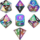 TecUnite Set of 7 Solid Metal Dice Rainbow Polyhedral Dice Set for Role Playing Game Dungeons and Dragons RPG Dice Gaming D&D Math Teaching with Drawstring Pouch