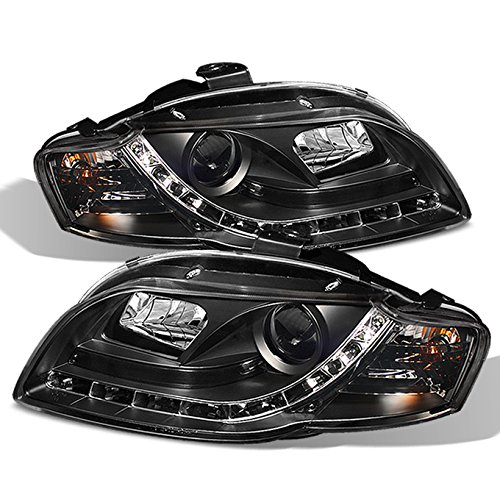 For 06-08 Audi A4 A4-Quattro Sport Sedan Wagon Black Bezel DRL Daytime LED Strip Projector Headlights Lamps Left + Right