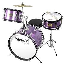 Mendini MJDS-3-PL 3-Piece 16-Inch Junior Drum Set, Metallic Purple