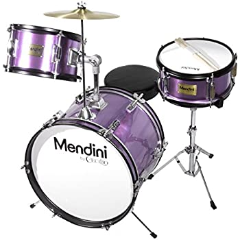 Mendini by Cecilio 16 inch 3-Piece Kids / Junior Drum Set with Adjustable Throne, Cymbal, Pedal & Drumsticks, Metallic Purple, MJDS-3-PL
