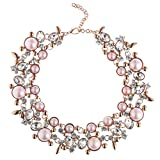 Holylove Statement Necklace for Women Novelty Jewelry Pink Peach with Gift Box-8058Pinkpeach Set