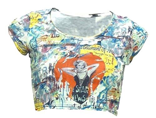 Señoras de las mujeres del multicolor impreso alrededor del cuello de la manga casquillo del tamaño Camisa corta 8 10 12 14 VERDE MULTI