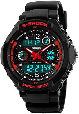 Takyae Children Kid Watches LED Digital Quartz Watch Boy And Girl Student Multifunctional Waterproof Wristwatches S - Red