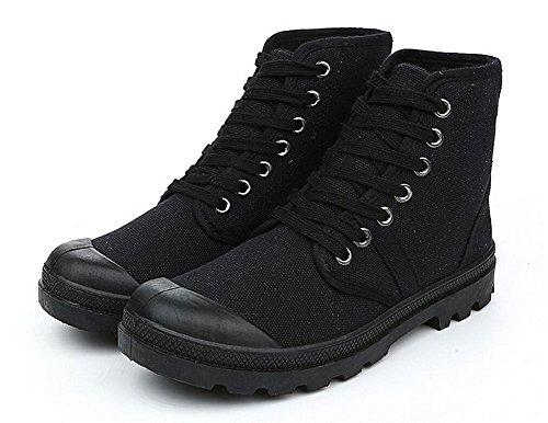 JiYe Women's Men's Canvas Lace up Boots,Black,8.5 US-Women/7.5 US-Men by JiYe