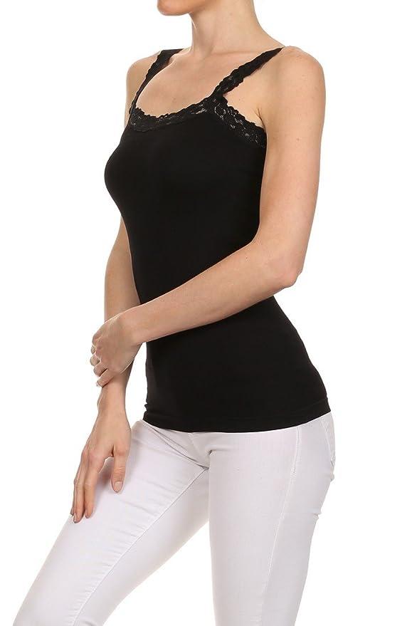 619a2bf48ea765 Amazon.com  ICONOFLASH Seamless Nylon Spandex Tank Top with Stretch Lace  Trim