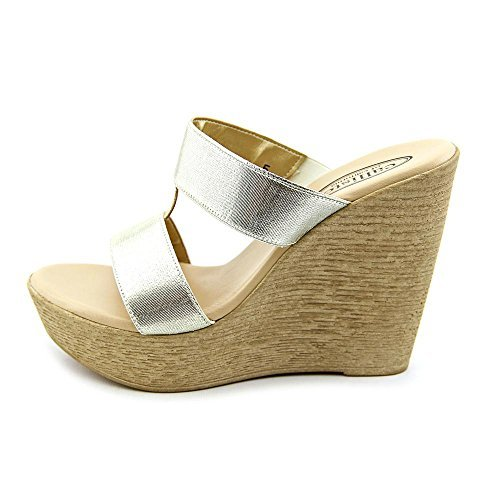 Callisto Women's Steph T-Strap Slide Wedge Sandal, Gold, Size (Callisto Clothing)