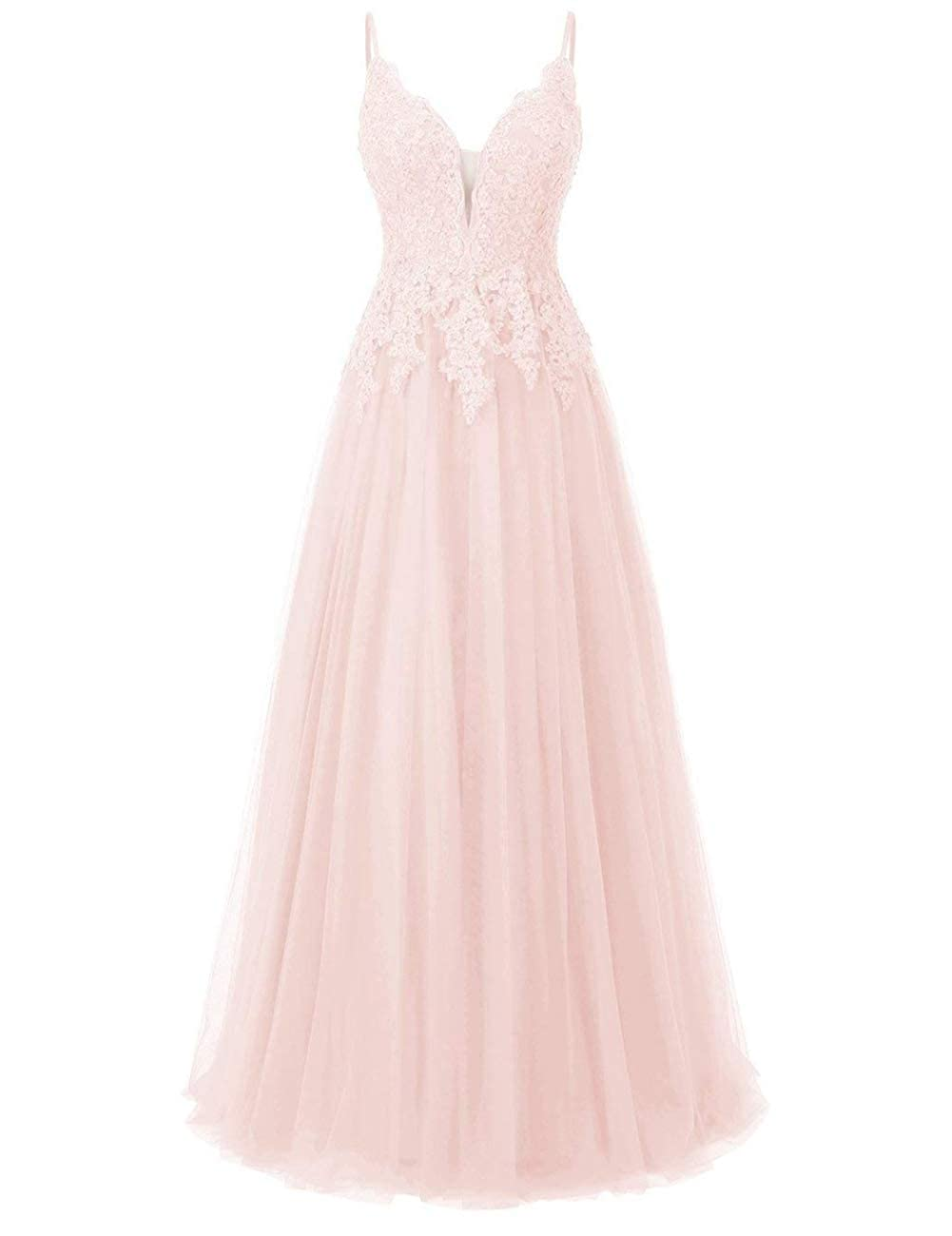Pink Elegant Long Bridesmaid Dresses with Lace Applique Beads Spaghetti Straps Tulle Prom Gowns
